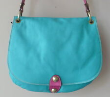 Avorio Italian Leather Cross Body Bag PurseTurquoise Pink 3 Sections Magnetic