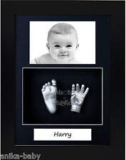 3D Baby Casting Kit Portrait Silver Hand Foot Cast Black Frame Christening Gift