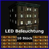 S333 - 10 Stück LED Hausbeleuchtung 5cm WEIß SMD Beleuchtung Häuser Gebäude ...