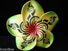 717ff9122 3.5' Tribal Print Hawaiian Plumeria Foam Flower Hair Clip Yellow Red Ctr &  Green