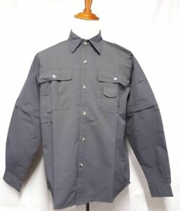 Magcomsen Fishing Shirt Convertible Sleeve Vented Quick Dry Gray Size XL