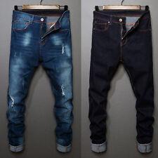 Mens Casual Ripped Skinny Moto Biker Jeans Destroyed Frayed Slim Fit Denim Pants