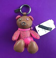 Coach X Keith Haring!!! Leather Teddy Bear Key Ring Chain Bag Charm NEW 20139