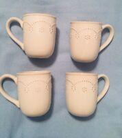 "(4) Food Network FONTINELLA WHITE Coffee Tea Cups Mugs 4-1/8"""