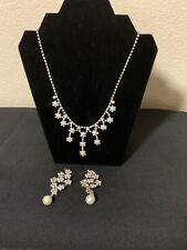 Rhinestone Pearl Embellished Wedding Necklace & Earrings  Set