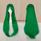 80cm long straight cosplay wig with fringe in forest green UK SELLER, Alex style