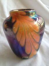 Iridescent Art Glass Vase, Signed by Artist, Purple, Green, Orange Studio Made