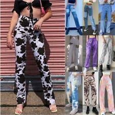 Womens Fashion Casual Bottoms Sports Joggers Trousers Wide Leg Denim Jeans Pants