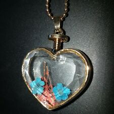 Beautiful love heart glass necklace with real dryed flowers! Gift idea!