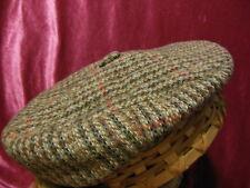 Brown Tweed Plaid EAR FLAPS XL Wool Cabbie Golf Walking cap hat snap WINTER Heav