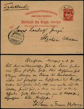 L539 Norway postcard stationery Germany Ljosne Itzehoe 1896
