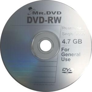 10 x Mr DVD DVD-RW Discs ReWritable Blank Disc in Sleeve 4.7GB 120min