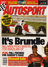 Autosport 24 Mar 1994 -  Brundle to drive McLaren in Brazil, Andretti. Mansell.