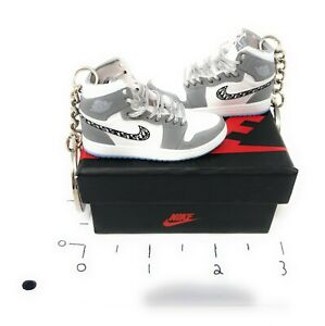 Pair Air Jordan 1 OG Sneakers Mini 3D Keychain Ring Shoes 1:6 Fig Grey and White