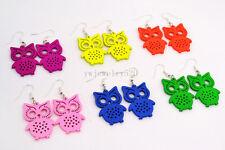 FREE wholesale lots Bulk 12pairs Owl Animal carve wood pendant silver P earrings