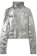 Maison Margiela MM6 Silver Metallic Coated Black Rollneck Ribbed Knit Sweater