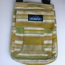 KAVU Brown Green Striped Small Mini Keeper Crossbody Messenger Bag Purse