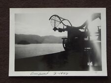 WW2 ANTI AIRCRAFT GUN ON SHIP, AMANI ISLANDS IN BACKGROUND 1946 ABSTRACT PHOTO