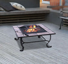 """32"""" Patio Square Fire Pit Metal Stove Barbecue BBQ Grill Fireplace Heater"""