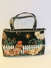 Isabella Fiore Rooster And Hens Vintage Leather Purse Handbag Beaded Sequin