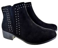 LADIES WOMENS LOW BLOCK HEEL ANKLE STUDDED DIAMANTE CHELSEA SHOES BOOTS SIZE 3-8
