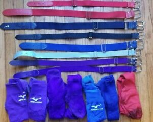 Lot of Belts Socks -- Little League Youth Baseball Softball boys girls