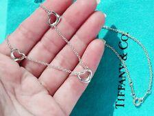Tiffany & Co Elsa Peretti Sterling Silver Three 3 Open Hearts Necklace 16 Inch