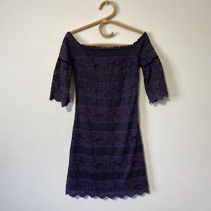 Size 00 womans WHITE HOUSE BLACK MARKET Purple Off Shoulder Bodycon Dress