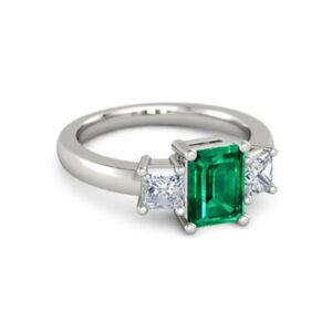 Emerald Cut 2.40 Ct Real Diamond Emerald Gemstone 950 Platinum Ring Size M N O Q