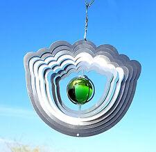 Windspiel 3 D Edelstahl mit Glaskugel Blume 19,5x23,5 cm Gartendeko 2123Ha