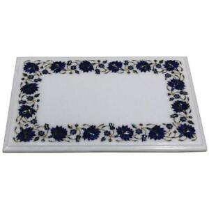 """18"""" x 12"""" Marble sofa side end Table Top semi precious stones lapis Inlay work"""