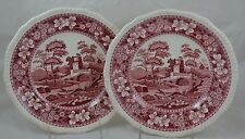 "Spode Tower Pink Red Old Mark Set of 2 Dinner Plate 10 5/8"" #2"