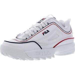 Fila Mens Disruptor II Contrast Piping Leather Fitness Sneakers Shoes BHFO 7950