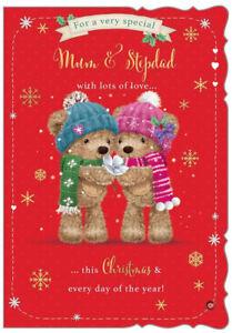 "Cute Bears In Winter Hat & Scarf ""MUM & STEPDAD"" Christmas Card"