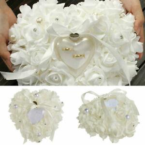White Rose Wedding Favors Heart Shape Flower Ring Box Pillow Cushion U0A6