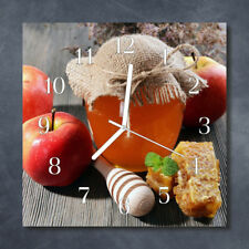 Glass Wall Clock Kitchen Clocks 30x30 cm silent Honey Apple Multi-Coloured