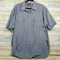 Plains Western Wear Mens Shirt 2X Big Man Blue Plaid Pearl Snap Button Front