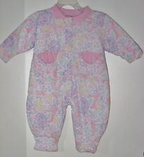 ECLIPSE Size 6-9 Months Pink Floral Fully-Lined Long Sleeve Romper Bodysuit