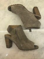 Corso Como Gray Taupe Suede Leather Block Heels Peep Toe Zipper Women's 8.5 EUC