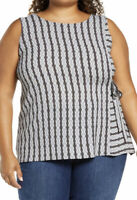 Vince Camuto Plus Size Sleeveless Top Black Gray Striped with Side Tie Size 2x