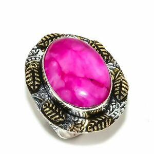 Kashmir Red Ruby Gemstone Two Tone 925 Sterling Silver Jewelry Ring Size 6.5
