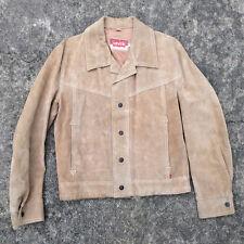 Rare Vintage 60s 70s Levis Suede Orange Tab Leather Work Chore Coat Jacket M