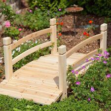 "Natural Wood Finish 48"" Garden Bridge Outdoor Yard Lawn Landscaping Decor"