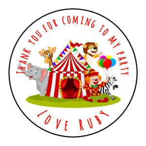 Personalised Circus Tent Animals Birthday Thank You Party Stickers Sweet Cones
