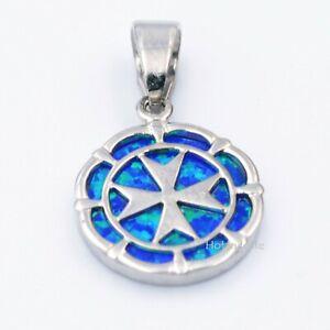 Knights of Malta MALTESE CROSS Sterling Silver 925 Blue Opal Round Pendant