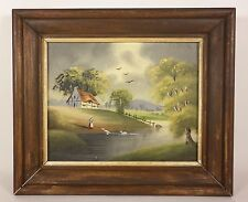 Original SMALL IMPRESSIONIST Woman with Swans Cottage Landscape Oil Painting