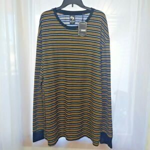 NEW OLD SKOOL MENS 5XL BROWN/BLACK/WHITE STRIPED WAFFLE KNIT SHIRT LONG SLEEVES