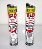 2x PETEC K&D Karosserie Klebe- und Dichtmasse schwarz 310ml