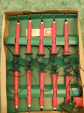 VTG DAVINA RED CLIP-ON CANDLE CHRISTMAS MINI LIGHTS~10 CANDLES W/HOLLY~ITALY