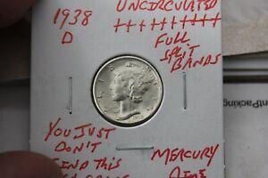 1938-D    FULL SPLIT BANDS    UNC+++   MERCURY DIME